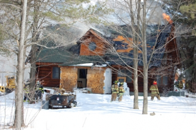 Firefighters respond to cabin blaze Friday morning