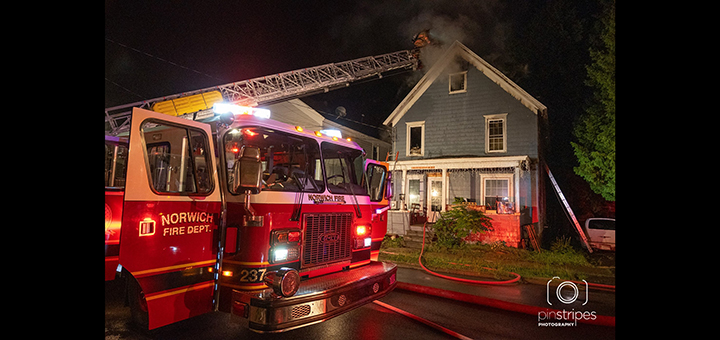 Two firefighters suffer minor injuries while responding to fire inside Norwich home